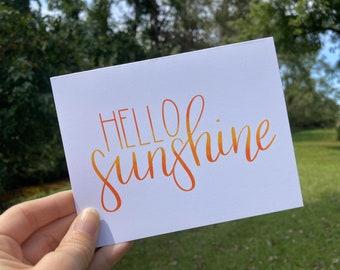 Friendship Card   Hand Lettered Card   Hello Sunshine Card   Greeting Card