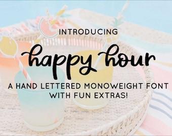Happy Hour Hand-Lettered Font, Script Font