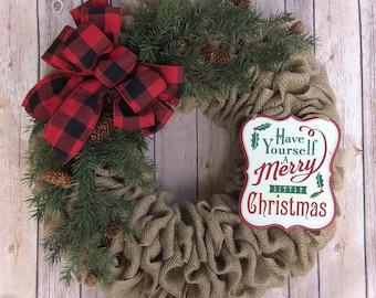 burlap christmas wreath buffalo plaid wreath farmhouse wreath rustic wreath burlap wreath merry christmas christmas sign - Burlap Christmas Wreath