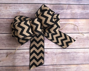 Black White Chevron Christmas Wreath Bows Home Décor available in 2 sizes Wreath Bows & Accessories