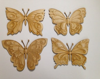 WOODEN BUTTERFLY CRAFT SHAPE VARIOUS SIZES WALL PLAQUE INTRICATE DESIGN