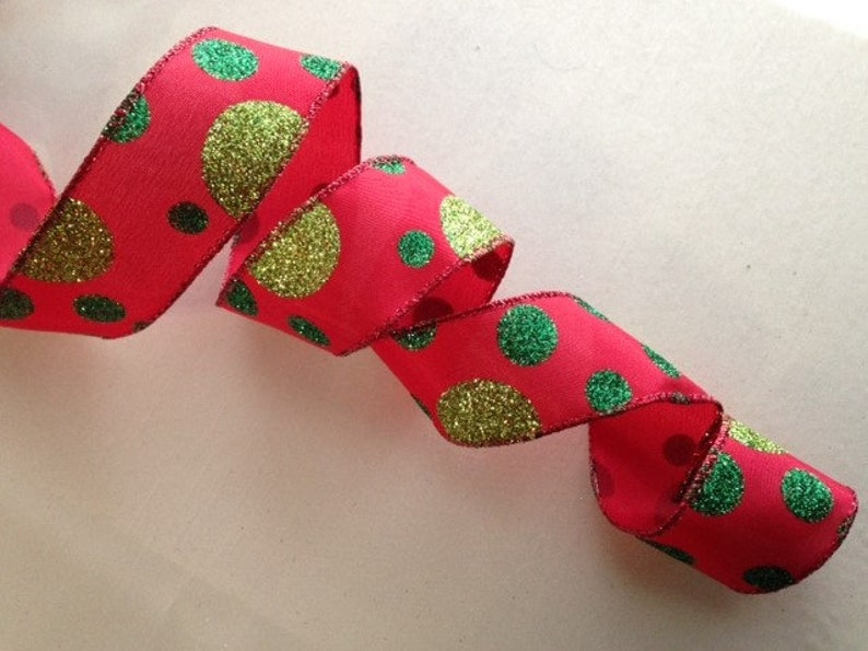 5 YARDS 2 1//2 In Wide,Wired Edge Christmas Ribbon,Red and White Candycane