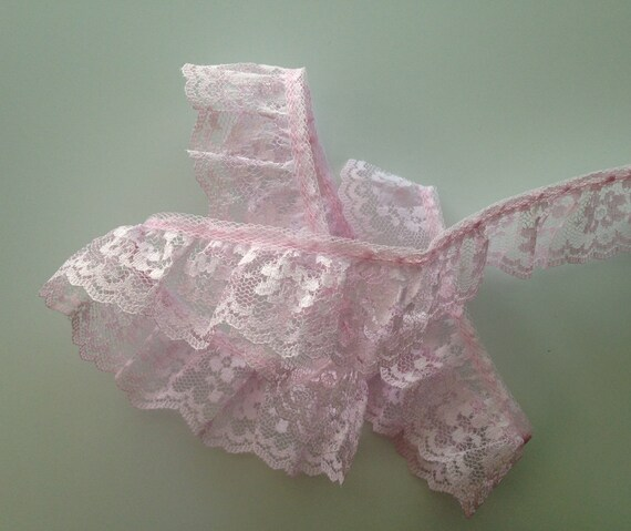 Natural on Ivory~DOUBLE Ruffle 2 Inch Candlewick Lace Trim~By 5 Yards