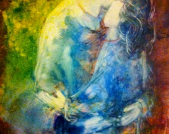 """Contemporary Faceless Acrylic Painting of Mother and Son """"Forever Love"""""""