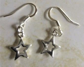 Single Silver Star Earrings