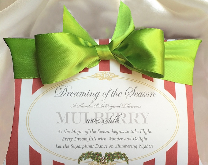 "SlumberBabi's ""Dreaming of the Season""-Our mulberry silk pillowcase tucked neatly in our holiday inspired box is a gift anyone would adore."