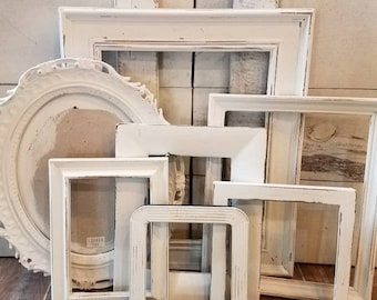 Antique White PICTURE FRAME Set Gallery Wall Wedding Frames Farmhouse Nursery Decor Bedroom Wall Decor Shabby Chic Vintage OVAL