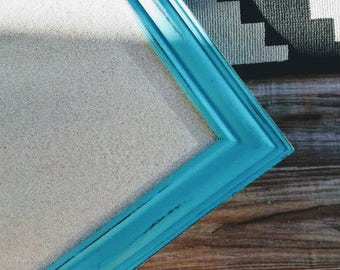 Turquoise Framed Linen Fabric Covered Pin Board Long CORKBOARD Neutral Bulletin board Girl's Room Decor Kitchen MAGNETIC BOARD Many Sizes