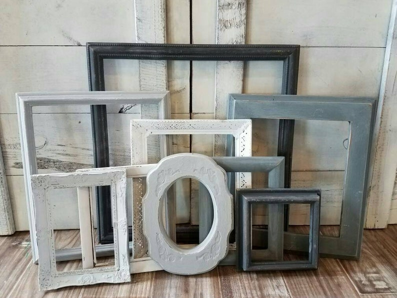 Gray Picture Frame Set  Modern Farmhouse Wall Decor  Beach image 0