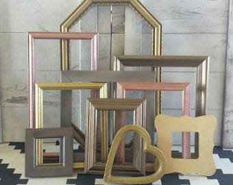 Mixed Metal Gallery Wall Picture Frames/ Copper, Silver,Gold, Bronze Photo Frames Wall Collage/ Bedroom Wall Decor/ Custom/ Nursery Wall Art