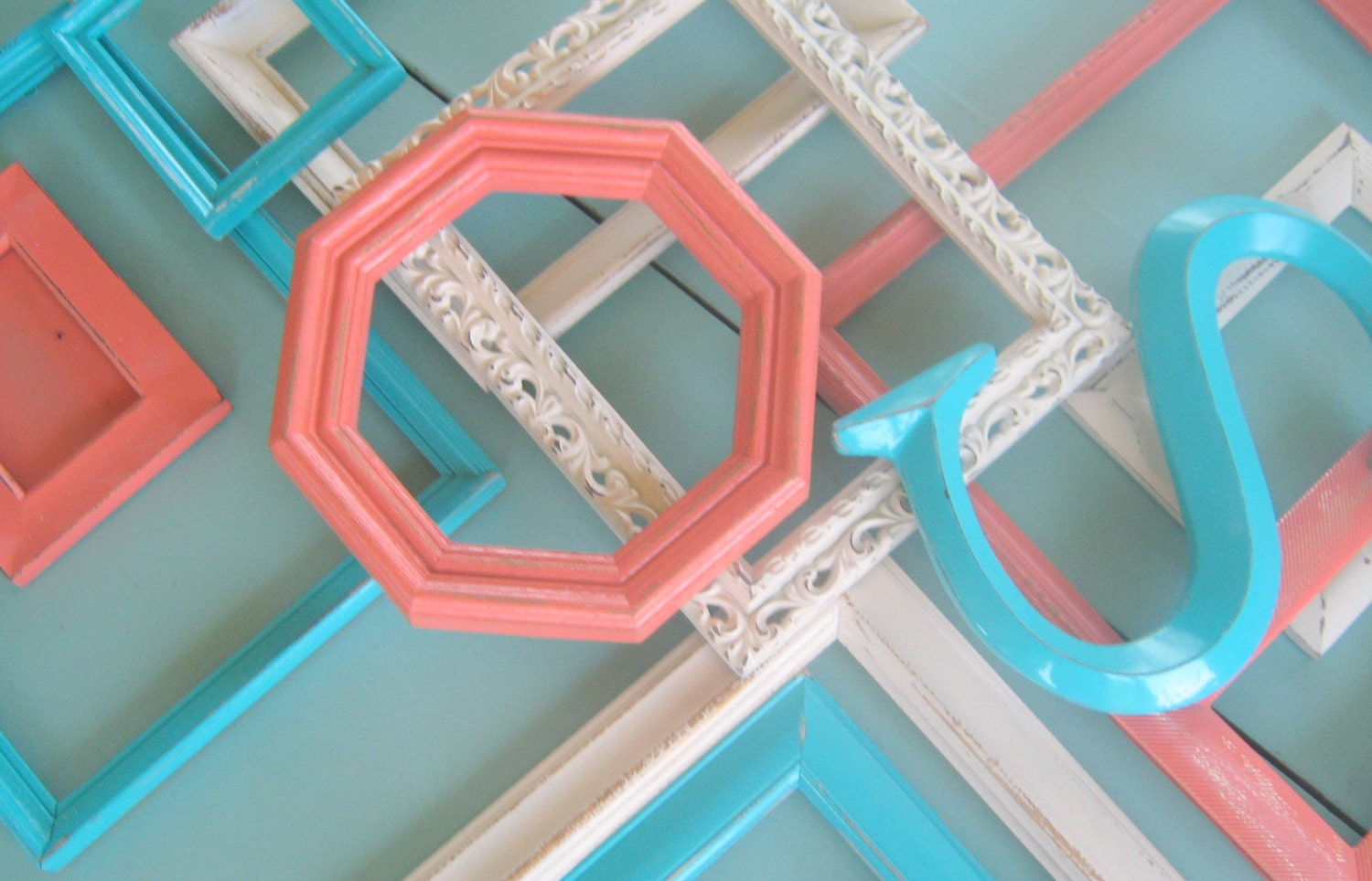 Coral, Turquoise, Cream / Shabby Chic Frame Set / Initial or ...
