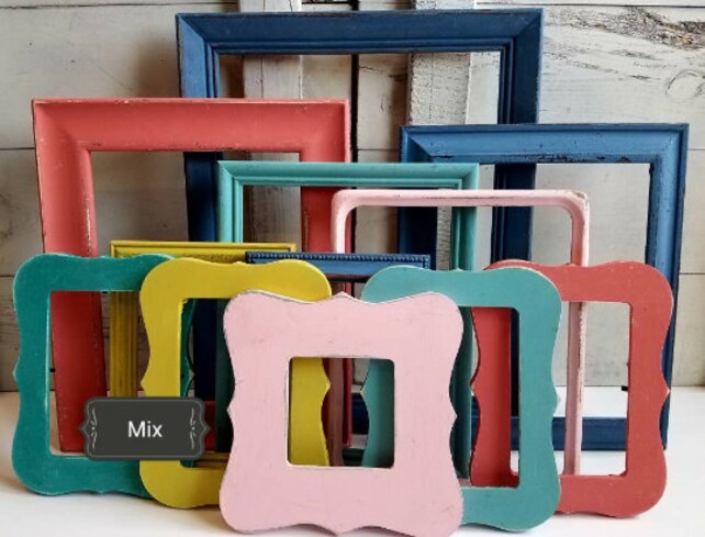 Custom Made Set Of Colorful Picture Frames Boho Whimsical Etsy