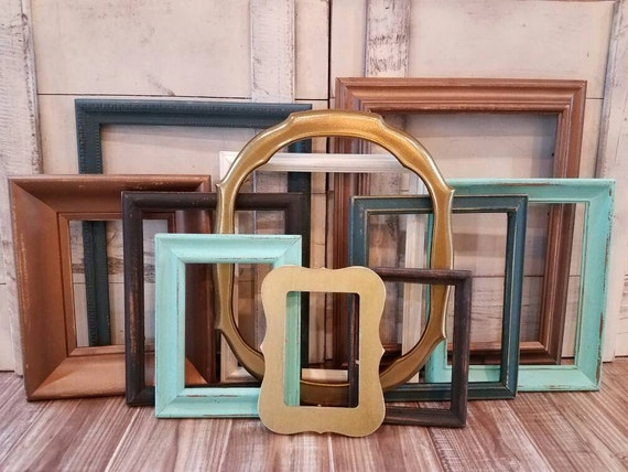gallery wall frame set copper teal gold distressed frames etsy