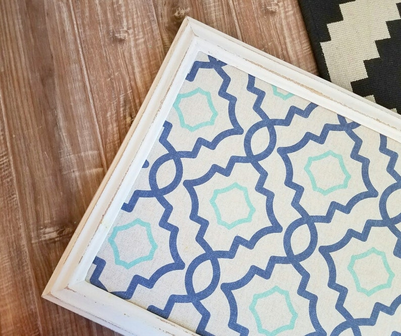 Framed Cork Board Farmhouse Bulletin Board Shabby White Fabric Pin Board Navy and Teal Geometric Pattern  Many Sizes Available Large