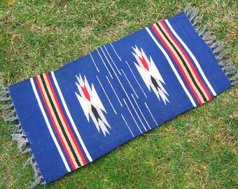 Vintage Blue Mexican Saltillo Serape Wool Mat Rug