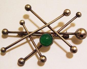 Vintage Designer FROM Modernist Sterling Atomic Brooch With Chrysoprase Green Stone