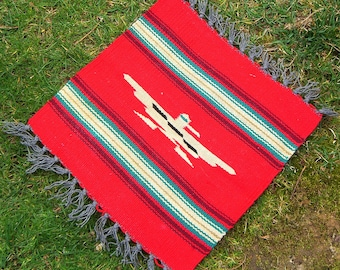 Vintage Red Mexican Saltillo Serape Wool Mat
