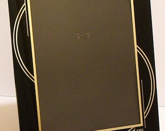 Vintage 1930's Deco Geometric Reverse Painted Glass Picture Frame