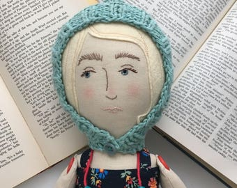 Sunny - Lady friend - handmade linen, cotton, and wool heirloom cloth doll
