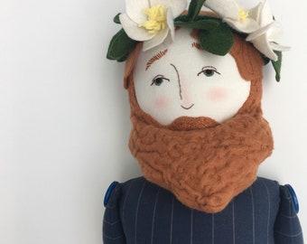 Bearded Fella magnolia flower crown - handmade linen, cotton, and wool heirloom cloth doll