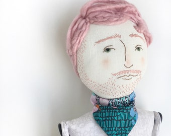 Bearded Fella pink hair and bandana - handmade linen, cotton, and wool heirloom cloth doll