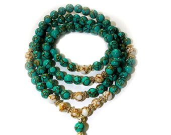 Japa Mala  108 Gemstone Azurite 8mm Beads Prayer Yoga Necklace for Meditation and Mantra
