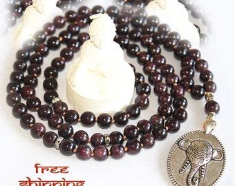 Japa Mala Hand Knotted 108 Garnet Gemstone 8mm Beads Prayer Yoga Necklace for Meditation and Mantra - free Shipping