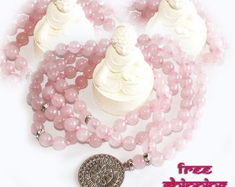 Japa Mala Hand Knotted 108  Gemstone Rose Quartz 8mm Beads Prayer Yoga Necklace for Meditation and Mantra - free Shipping