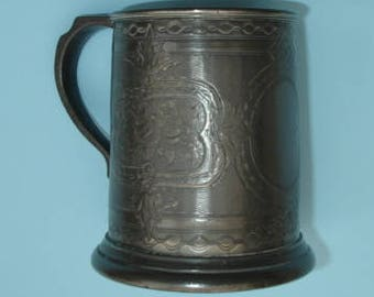 Decorated Pewter Ale Tankard With Cranberry Glass Star Cut Base Cira 1860