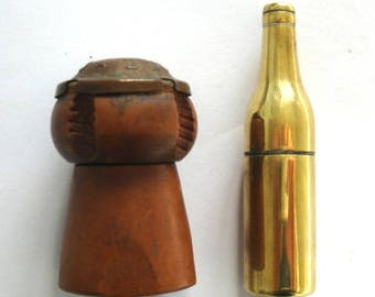 Two Vintage Lighters  - Shaped As A Champagne Cork & Bottle