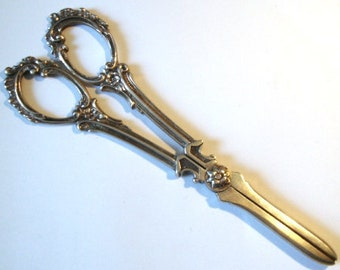 Vintage Silver Grape Scissors Marked 800
