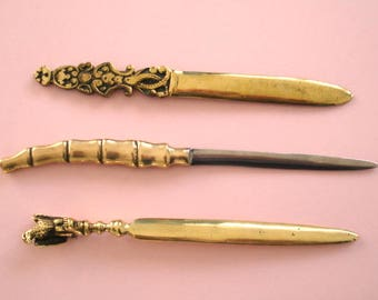 Paper Knives - Letter Openers - Small Collection Of Three Brass