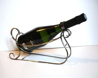 Vintage Silver Plated Wine Bottle Holder in Sleigh Form by Wiskemann