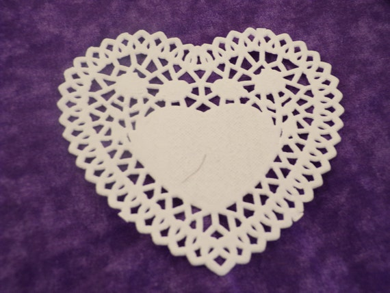 Paper Heart Doily Scrapbooking Heart Lattice Lace Paper Etsy