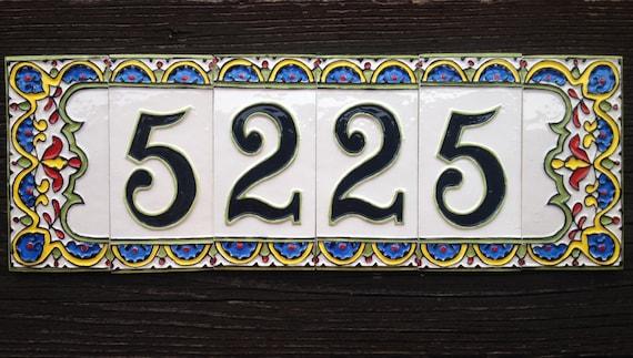 Numero civico in ceramica a 4 cifre con bordo 2 etsy