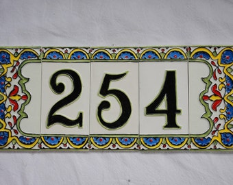 Ceramic house number, 3 digit with 2 border