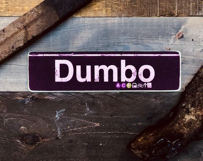 Dumbo Brooklyn New York City Neighborhood Hand Crafted Horizontal Wood Sign - Subway sign, NY Decor, NYC Art, Subway Art, NYC Sign. ny gift