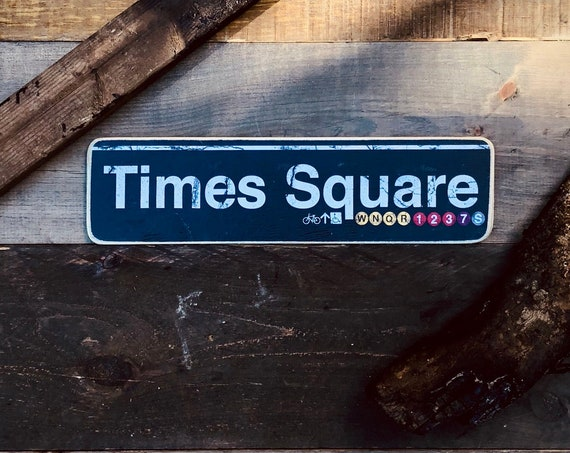 Times Square Manhattan New York City Neighborhood Hand Crafted Horizontal Wood Sign - 4x15 in.