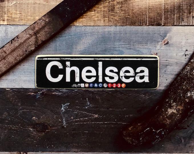 Chelsea Manhattan New York City Neighborhood Hand Crafted Horizontal Wood Sign  - Subway sign, NY Decor, NYC Art, Subway Art, NYC Sign.