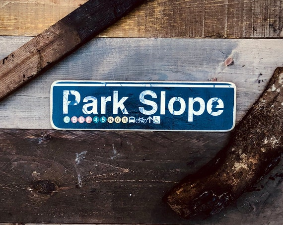 Park Slope Brooklyn New York City Neighborhood Hand Crafted Horizontal Wood Sign - 4x15 in.