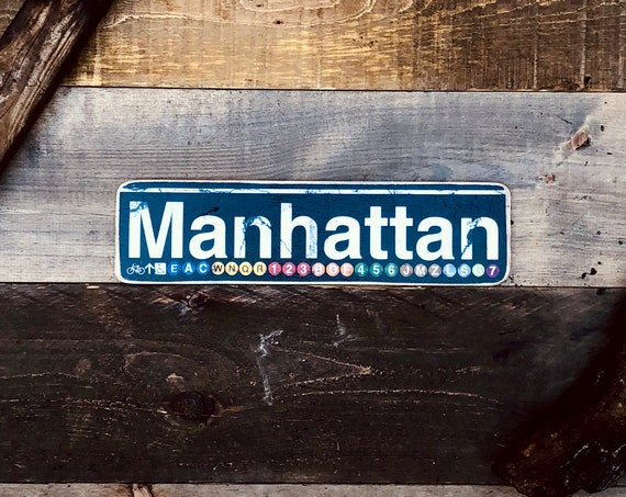 Manhattan New York City Neighborhood Hand Crafted Horizontal Wood Sign - 4x15 in.