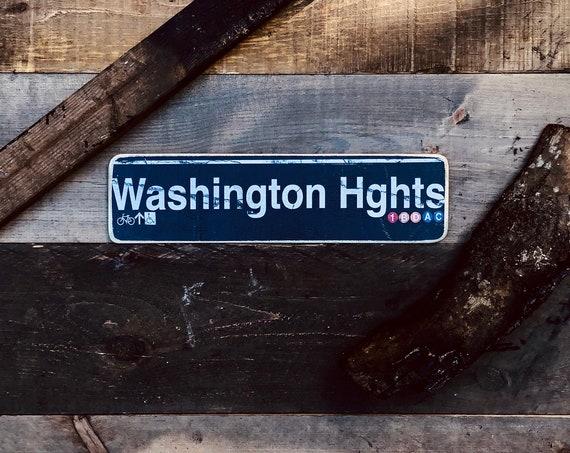 Washington Heights Manhattan New York City Neighborhood Hand Crafted Horizontal Wood Sign - 4x15 in.