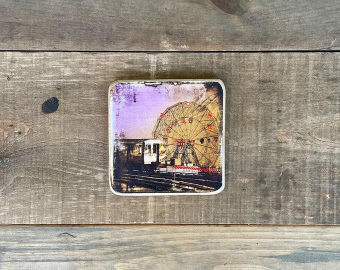 Subway Wonder Wheel Coney Island Brooklyn New York City Original Square Photography Hand Crafted on Wood