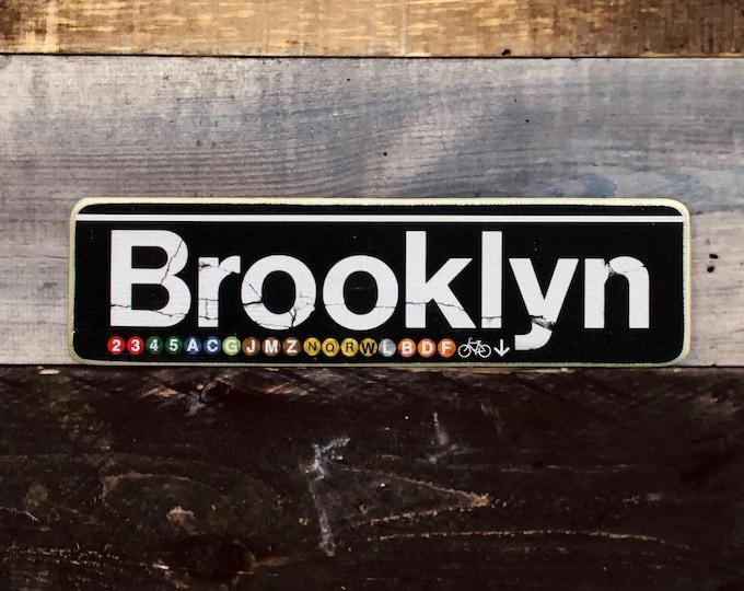 Brooklyn New York City Neighborhood Hand Crafted Horizontal original Wood Subway Sign - Subway sign, NY Decor, NYC Art, Subway Art, NYC Sign