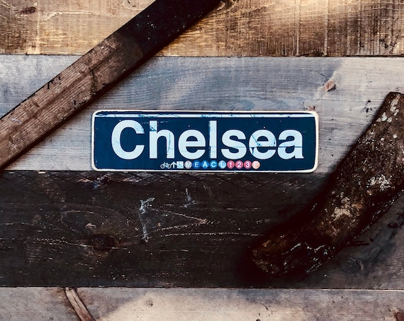 Chelsea Manhattan New York City Neighborhood Hand Crafted Horizontal Wood Sign - 4x15 in.