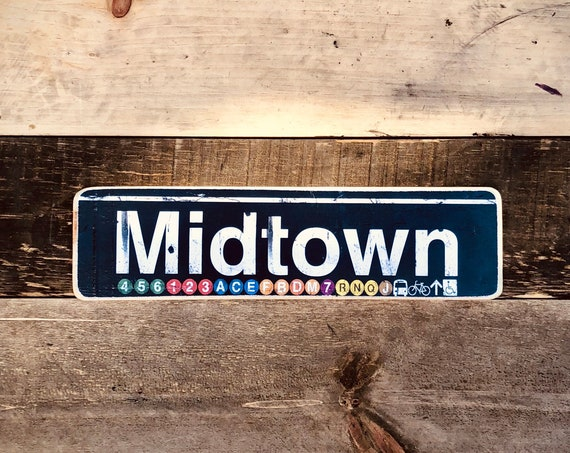 Midtown Manhattan New York City Neighborhood Hand Crafted Horizontal Wood Sign - 4x15 in.