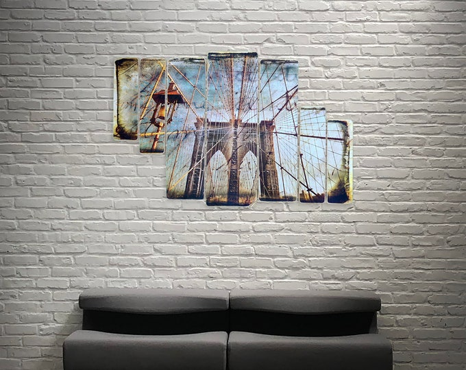 Brooklyn Bridge Cables New York City Original Horizontal Landscape Photography Hand Crafted on Wood - 38x24inches