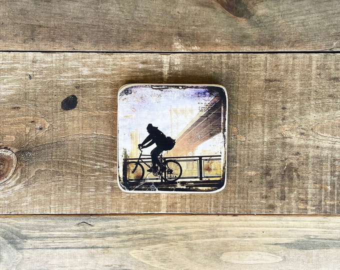 Bike Guy Silhouette with Manhattan Bridge Original New York City Art Photography Hand Craft on Wood Square