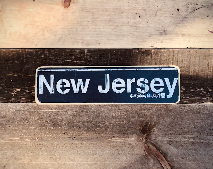 New Jersey Neighborhood Hand Crafted Horizontal Wood Sign - 4x15 in.