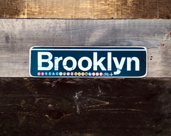 Brooklyn New York City Neighborhood Hand Crafted Horizontal Wood Sign - 4x15 in.